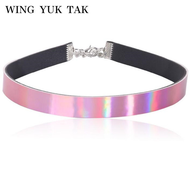 Chic Necklaces Fluorescent Rainbow Luminous Pu Leather Choker Necklace For Women