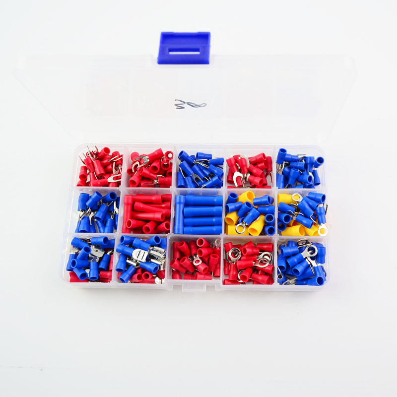 300pcs/lot Electrical Wire Crimp Terminals Kit Insulated Terminator Spade Butt Connectors Red Yellow Blue Assorted terminales 480pcs insulated heat shrink electrical connectors assorted crimp terminals ring butt kit red yellow blue