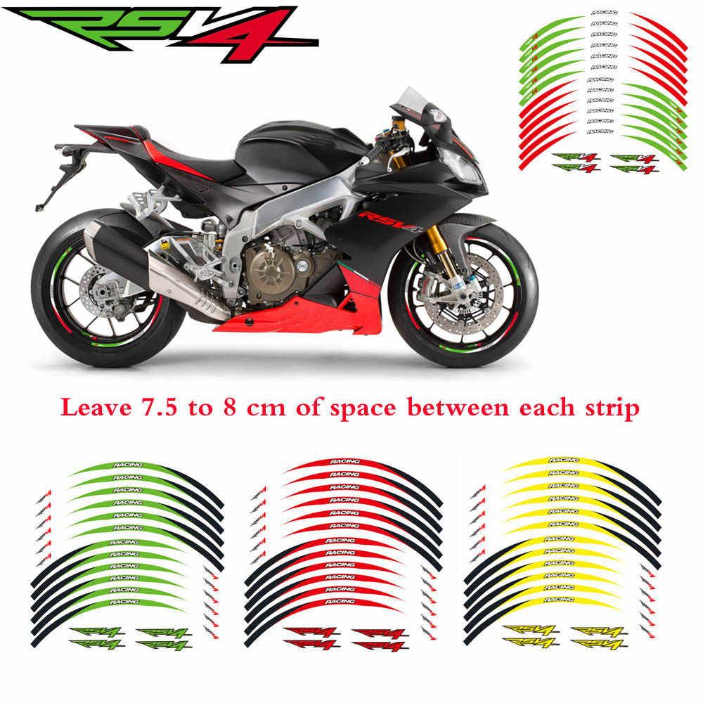 عالية الجودة دراجة نارية حافة المشارب الشارات 17 بوصة عجلة ملصقا تعكس الشريط ل ابريليا RSV4 عاكس ملصق