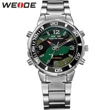 цена на WEIDE Men Sports Quartz Watch LED Analog Digital Display 30M Waterproof Army Military Stainless Steel Wrist Watch With Alarm