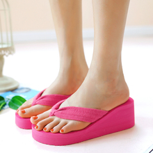 Women's Wedges Flip Flops Ladies Beach Shoes Outsole Summer 2016 Sandals For Women Size:36-39 rose Red
