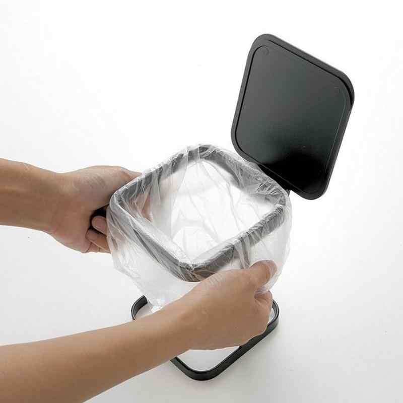 Estilo japonês Mini Desktop Virar Lata de lixo De Lixo Da Cozinha Balde De Armazenamento Rack de Armazenamento de Acabamento de Limpeza Doméstica Com Flip