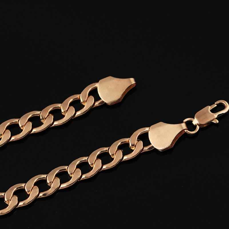 OTOKY チェーンネックレスヒップホップメンズ縁石キューバチェーンゴールドフィルブレスレットネックレスジュエリー日常着 61 センチメートルチェーンネックレス Dec29
