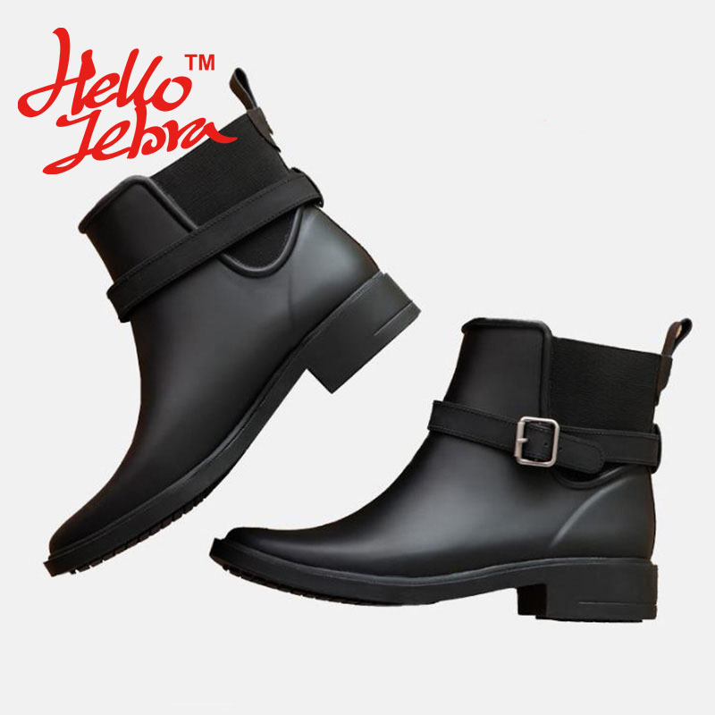 Women Fashion Solid Rain Boots Ladies Ankle Charm Rubber Low Flat Heels Slip On Waterproof Rainboots 2016 New Fashion Design free shipping fashion madam featherweight rubber boots rainboots gumboots waterproof fishing rain boots motorcycle boots