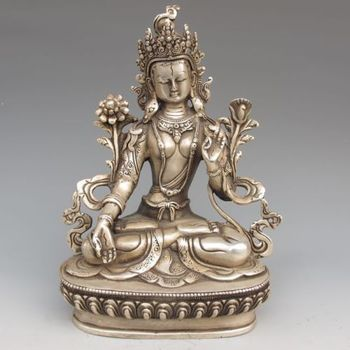 Tibet silver copper Buddha statue white tara Tibetan Buddhism metal handicraft фото