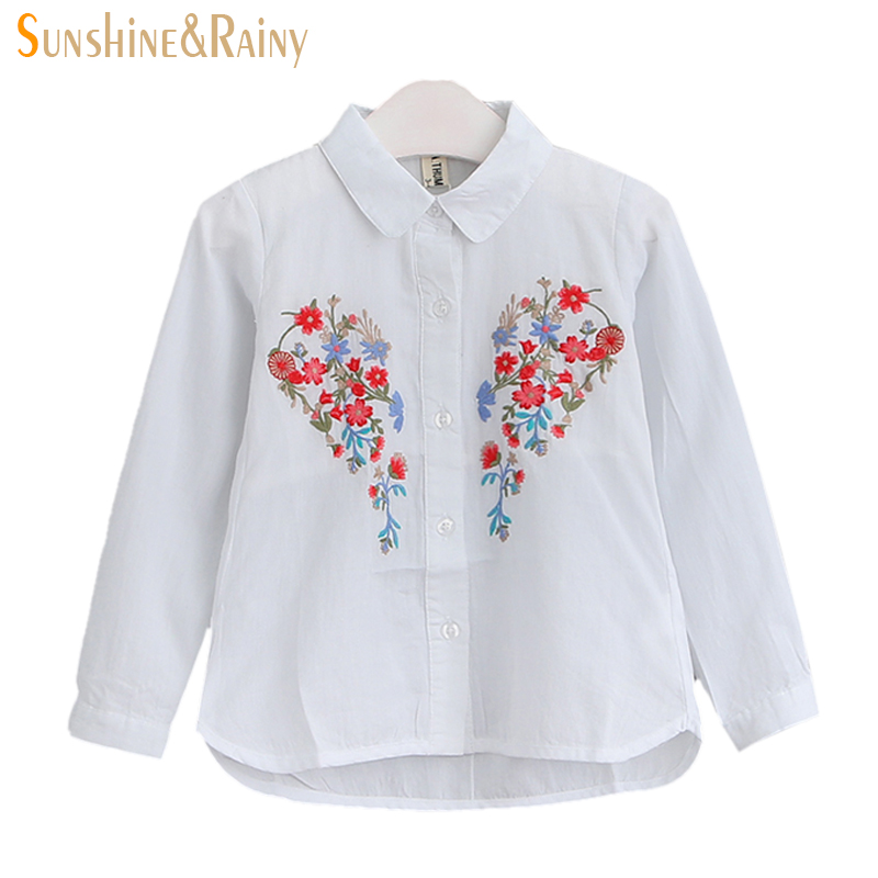 White Baby Embroidered Girls Shirts 2017 Spring Korean Costumes For