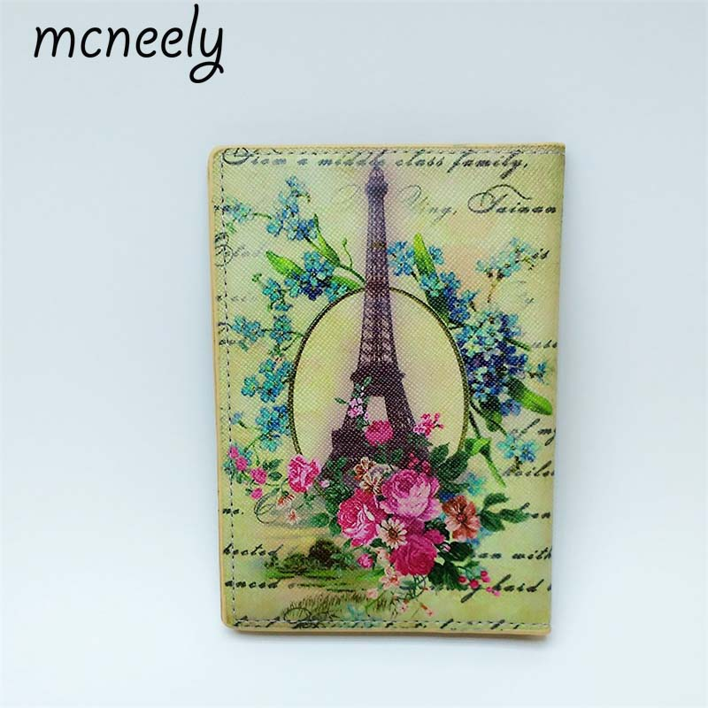 Mcneely High Quality Women Passport Cover Credit Card Package Waterproof PU Leather Travel Passport Holder 10*14cm 3d skull floral pu leather passport cover wallet travel function credit card package id holder storage money organizer clutch