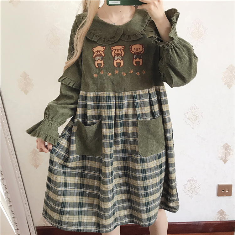 Japanese sweet lolita dress stitching lattice loose lace peter pan collar victorian dress kawaii girl gothic lolita op loli cos