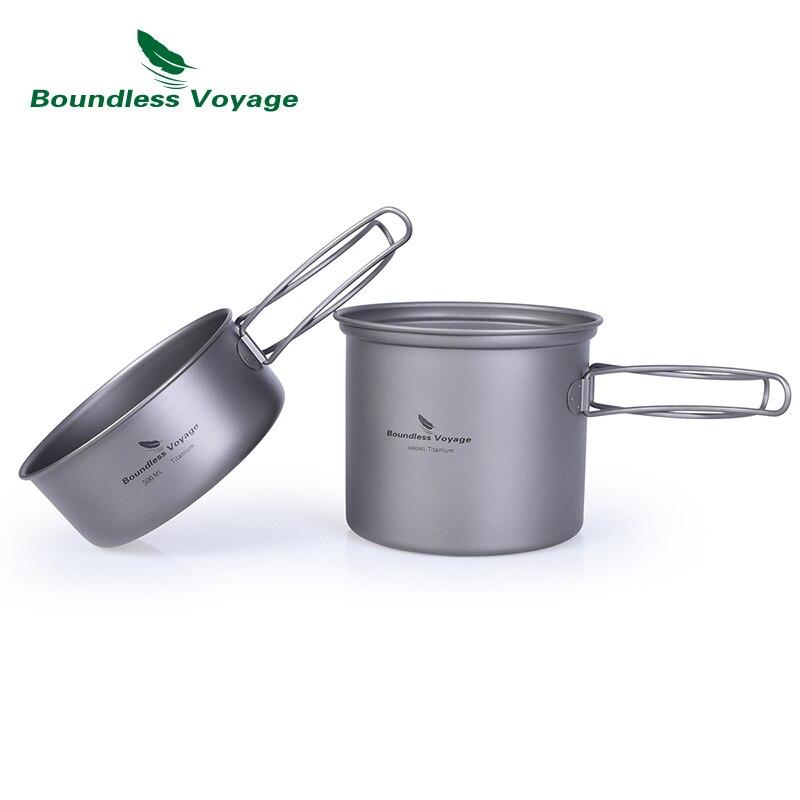 Bol de Pot en titane de Voyage sans bornes avec poignée pliante en titane en plein air Camping pique-nique Set de vaisselle de cuisine 1000 ML Ti1502B
