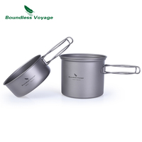 Boundless Voyage Titanium Pot Bowl with Titanium Folding Handle Outdoor Camping Picnic Cookare Tableware Set 1000ML Ti1502B