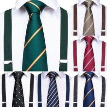 Clips 6 20 estilos Homens Suspensórios de couro de luxo Do Vintage Calça Casual Mens Pulseira de Presente com Gravata para Os Homens de Negócios de Casamento partido