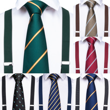 Luxury 20 styles Men Suspenders leather 6 Clips Vintage Casual Trousers Strap Mens Gift with Tie for Men Business Wedding Party