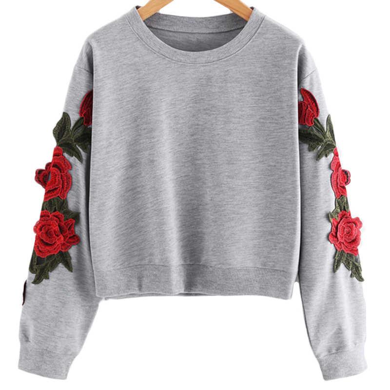 TASTIE Rose ปัก Applique เสื้อกันหนาว 2018 ฤดูใบไม้ร่วงสีเทาผู้หญิง O คอยาวแขนยาวสุภาพสตรี Ladies Sweatshirt