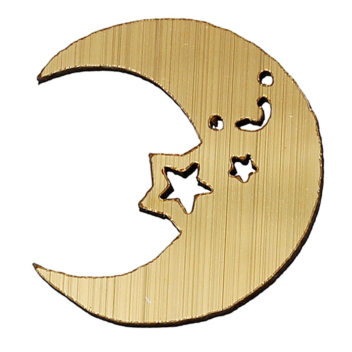 Wood Cabochons Scrapbooking Embellishments Findings Moon Golden Star Hollow 27mm(1 1/8)x 24mm(1),50 PCs 2015 new