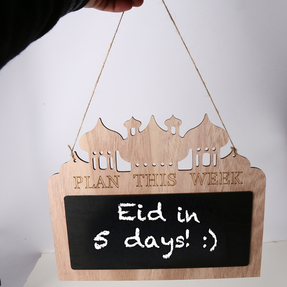 Home Coffee Shop Decor Wood Blackboard DIY Eid Mubarak
