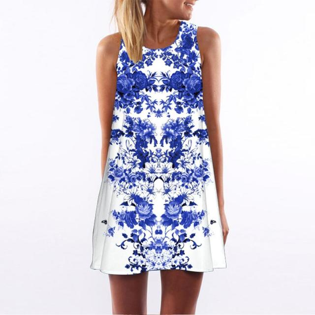 743a72c4202 White Blue 3D Floral Print Dress Women Loose Summer Vintage Sleeveless  Short Mini Dress O Neck Zipper Back Sundress Dresses-16