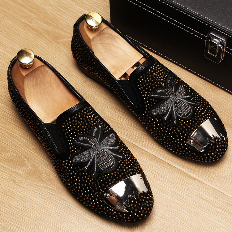 England Fashion Men Prom Banquet Dress Rhinestone Soft Leather Shoes Spider Design Slip-on Lazy Shoe Breathable Loafers Sneakers Shoes