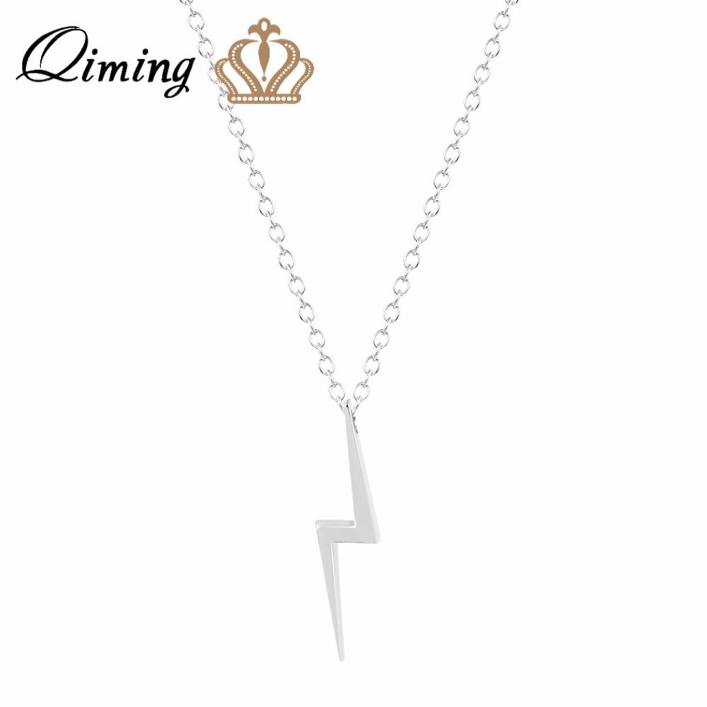 QIMING 10PCS Lightning Bolt Summer Necklace Vintage Men Jewelry Gold Silver Weather Friendship Necklace Women Girls Gift B