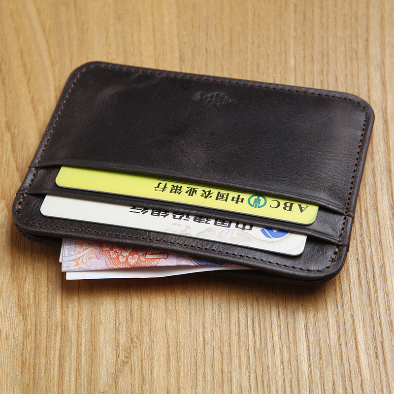 LAN mens leather credit card case untra thin coin purse card case whole sale slim card case driving license case