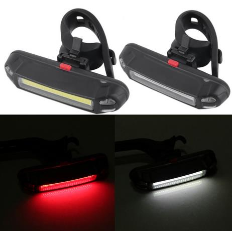 6Mode USB Rechargeable COB LED Bike Bicycle Cycling Front Rear Tail Light Lamp