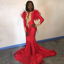 African Red Prom Dresses Long Sleeves Gold Appliques Feathers Satin Formal Mermaid Evening Dress 2019 Black Women robe de soiree african red prom dresses long sleeves gold appliques feathers satin formal mermaid evening dress 2019 black women robe de soiree