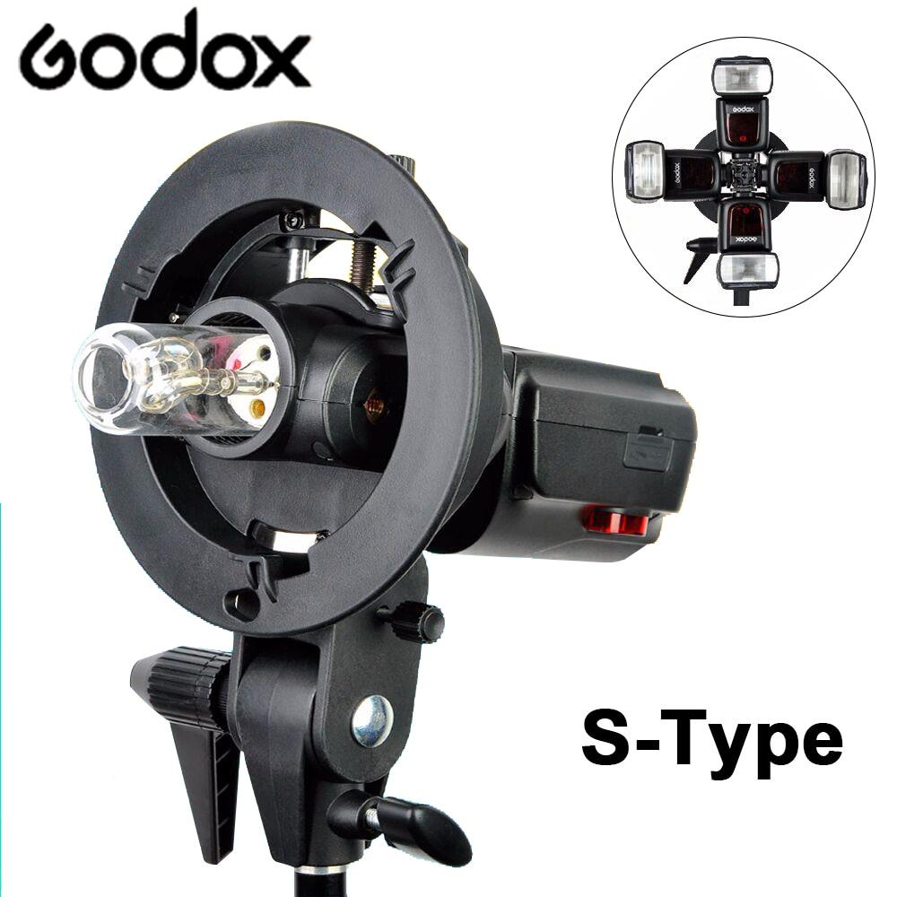 Godox S-Tipo Bracket Bowens S Montar Titular Para Estúdio de Fotografia DSLR Camera Flash Speedlite Luz Softbox Guarda-chuva do Refletor