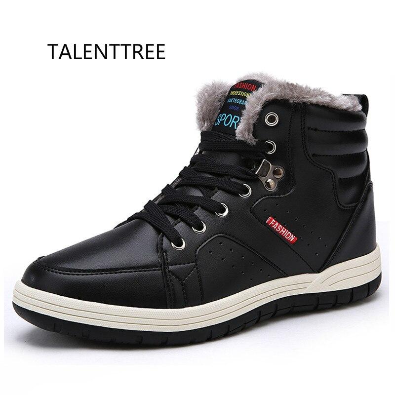 Talenttree мужские кожаные зимние сапоги ботильоны на шнуровке кроссовки с высоким берцем зимняя обувь с Меховая подкладка Размер 39-48 мужские бо... ...