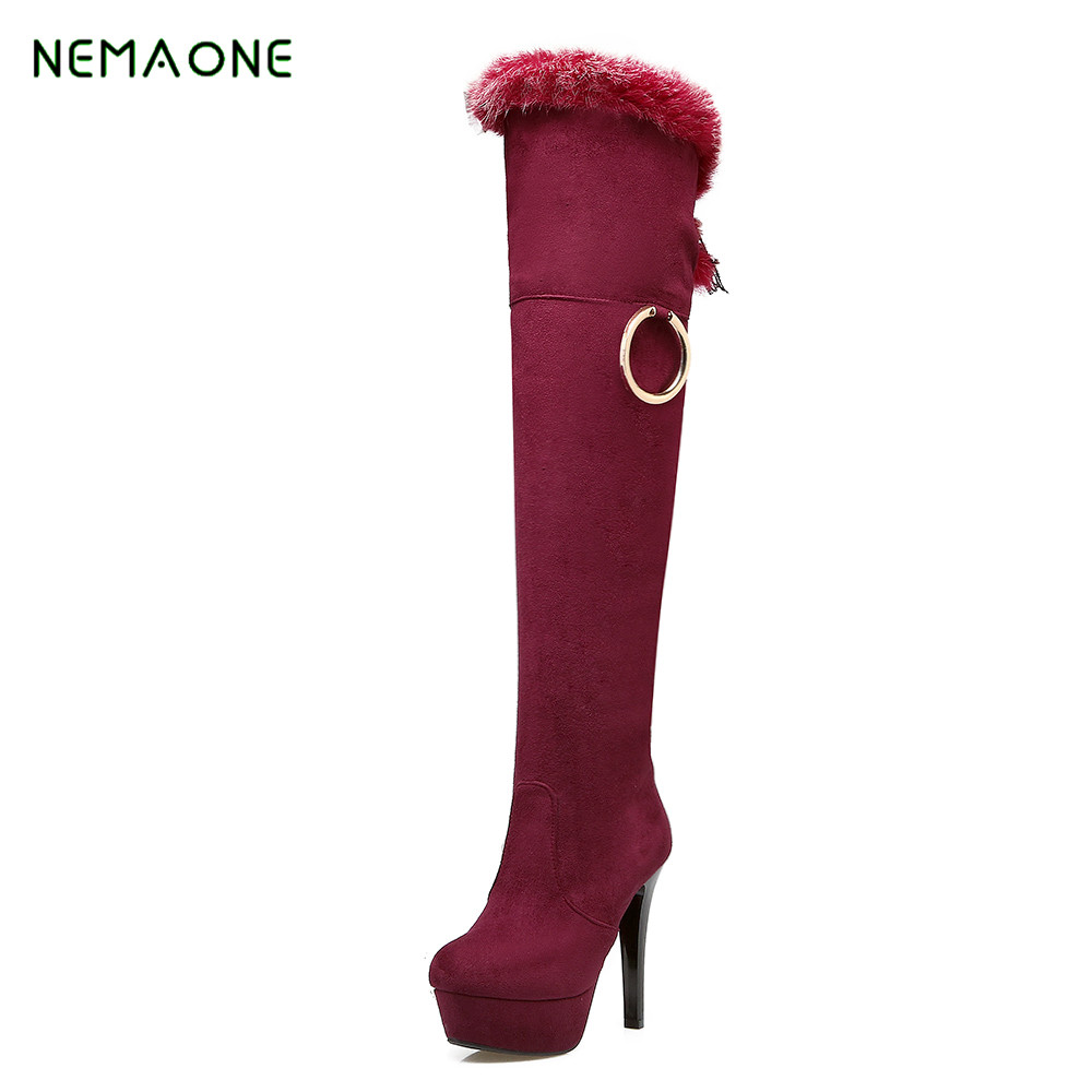 NEMAONE Faux Suede Slim Boots Sexy over the knee high women snow boots women's fashion winter thigh high boots shoes woman 2017 new women suede slim sexy fashion over the knee boots sexy thin high heel boots platform woman thigh high boots shoes