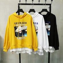 Loose Fake Two Piece Hoodie Autumn Casual Chic Printed Letters Hooded Yellow Hoodie Kpop Long Sleeve Women's Sweatshirt Harajuku