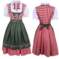 Oktoberfest Germany Tradition Costume Free Shipping Beer Girl Costume Bavarian Women Wear with Apron S XXL Carnival Dirndl Dress