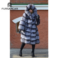 FURSARCAR 2018 New Style Real Fur Coats Women With Big Hood Luxury Winter Warm Silver Fox Fur Jacket 100 CM Long Fox Fur Coat