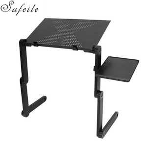 Image 1 - SUFEILE Aluminum Laptop Folding Table Computer desk Stand for Bed 360 degree rotation MultiFunctional Portable folding table D5