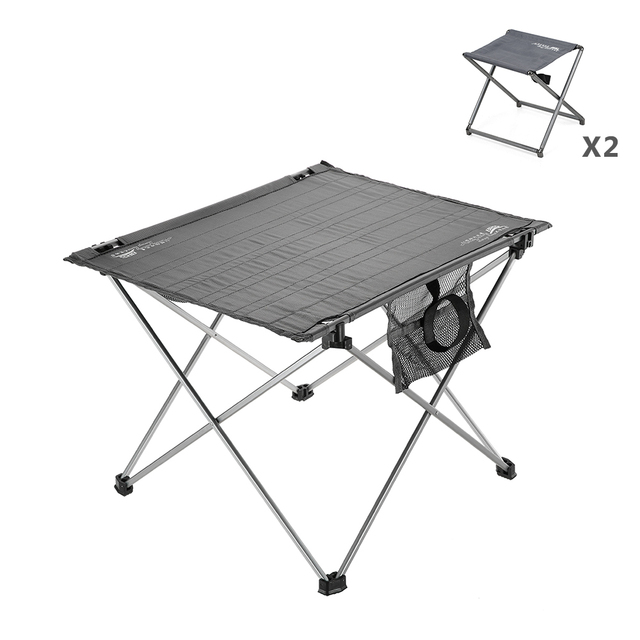 Camping Foldable Table Compact Lightweight Folding Roll Up With 2 Chairs Stool For