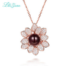I & Zuan duże kwiatowe naszyjnik I wisiorki dla kobiet 925 srebro łańcuszek z naturalnym 2.86ct turmalin brązowy kamień Fine Jewelry
