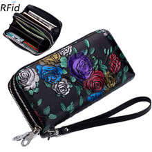 Women Leather Rfid Anti-theft Long Wallet Large Double Zipper Rose Painted Bank Credit ID Card Holder Money Bag Purse Clutch New