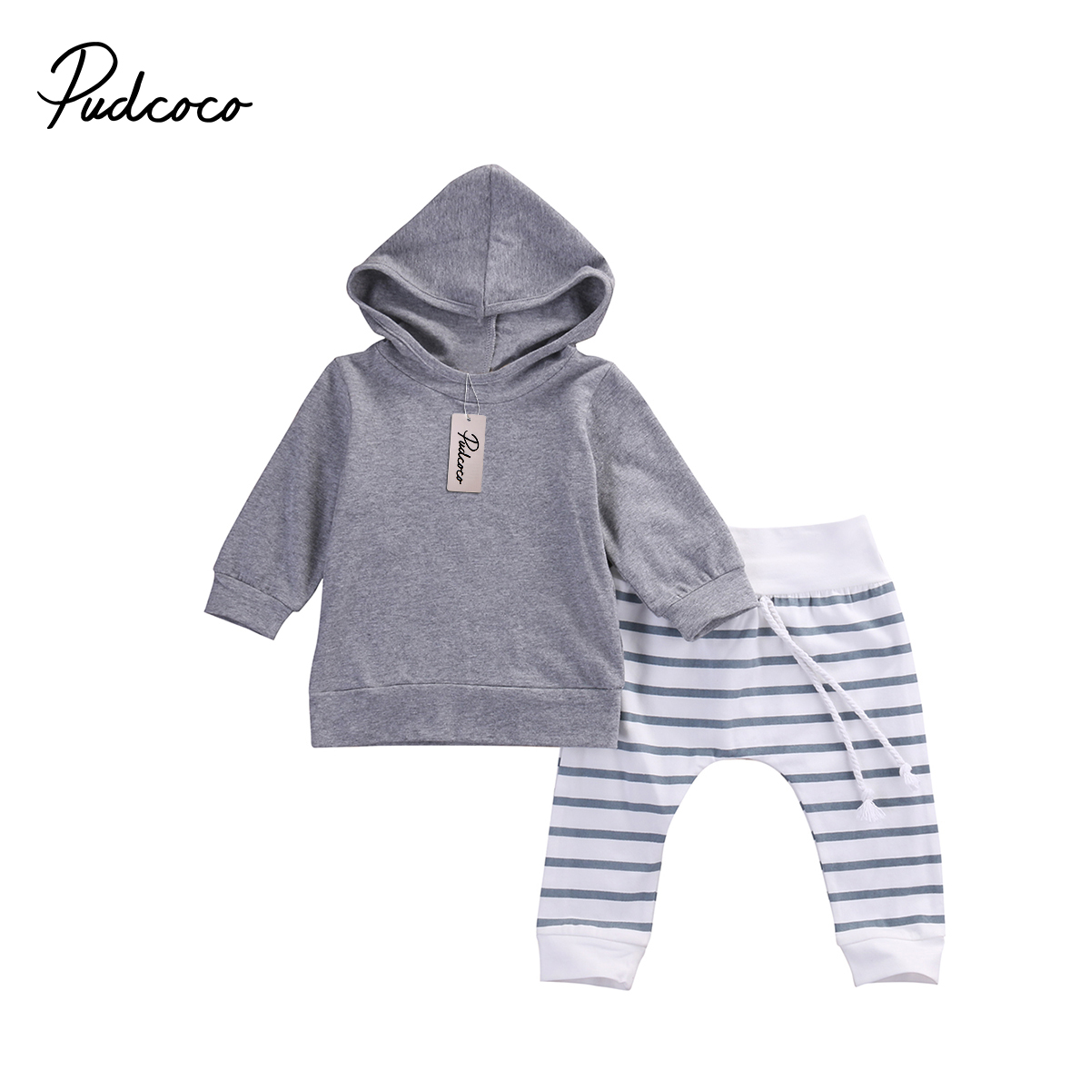 Pudcoco 2PCS Baby Boys & Girl Warm Cotton Long Sleeve Hooded + Pants Outfit Set 0-18 Months Helen115