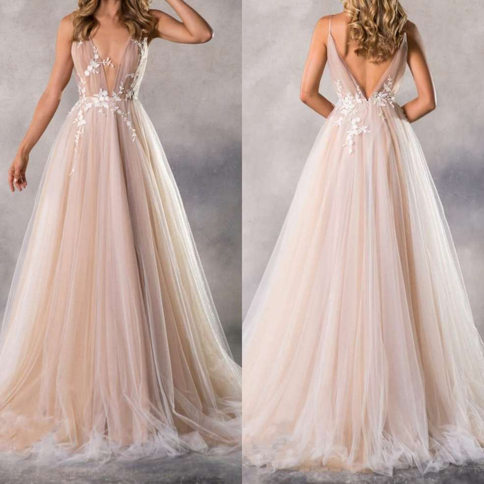 Sexy Long   Evening     Dresses   For Wedding Tulle Backless 2019 New Women Formal Party Gowns Vestido De Festa