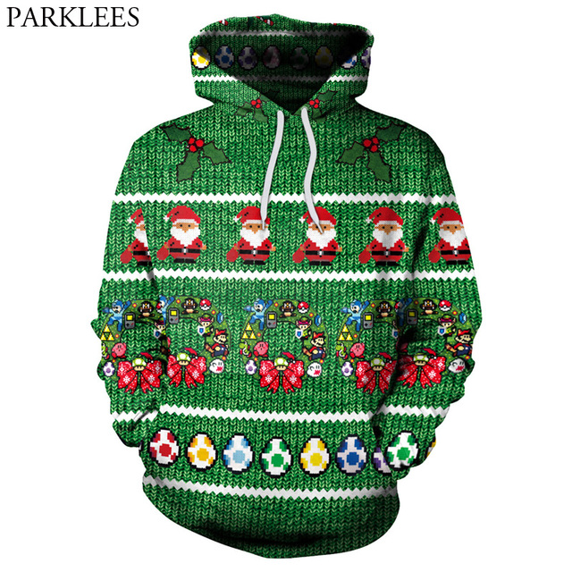 Christmas Hooded Sweatshirt Men Women 2018 Funny 3D Santa Claus Print  Hoodies Sweatshirts Mens Harajuku Hip Hop Sweat Homme 2XL 7235cb2d4a7b