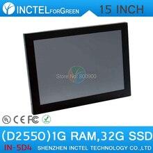 15 Дюймов LED сенсорный экран все-в-одном компьютере панели 2 мм ультра-тонкий с Intel Atom D2550 Dual Core 1.86 ГГц ПРОЦЕССОРА 1 Г RAM 32 Г SSD