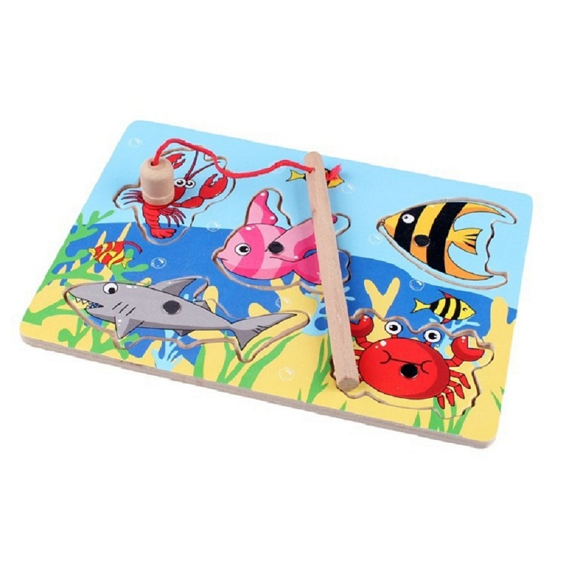 1 Set Fishing Board Wooden Mini Ocean Crab Fish Puzzle Preschool Magnetic Fishing Toy For Kids Toys Toys & Hobbies