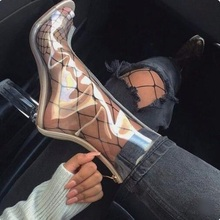 Hot Selling PVC Transparent Ankle Boots Peep Toe Cut-out Chunky High Heels Short Bootie Clear Ladies Night Club Dress Shoes недорого