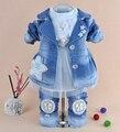 Novo 2014 meninas de alta qualidade denim casaco conjuntos de roupas 3 pcs crianças roupas sets meninas rendas camisa da menina do bebê roupas conjuntos
