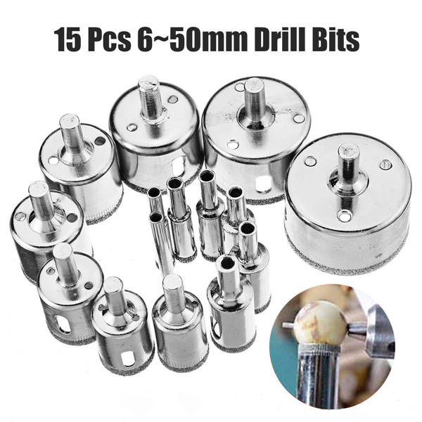 15Pcs Diamond Coated Core Hole Saw Drill Bit Sets Marble Tile Cutter Glass Ceramic Holesaw Drilling Bits For Power Tools 6~50mm jelbo cone step drill hole tools countersink 3pc drill bit set power tools step drill bit for metal power tools set hole cutter