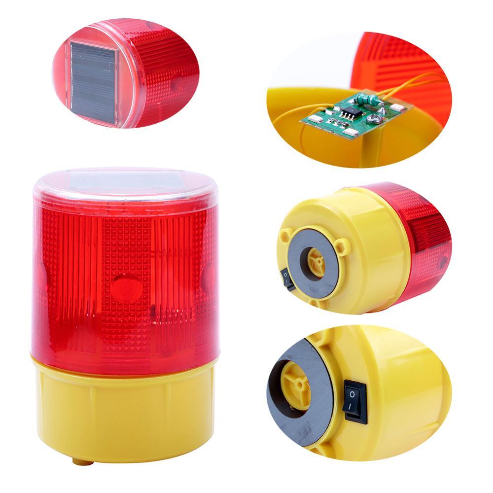 Emergency LED Solar Strobe Warning Red Light For Night Road Construction Cone Signal Safety Traffic Light Flicker Beacon Lamp