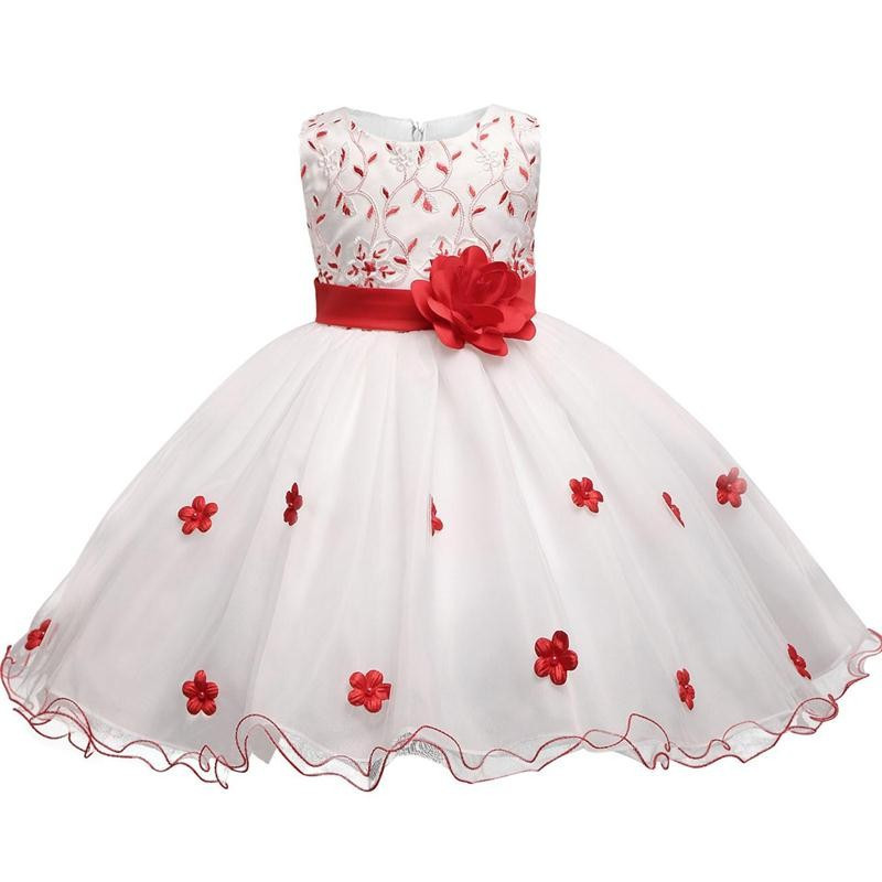 Flower Summer Baby Wedding Dress Girl Party Wear Kids Clothes Children Costume Princess Prom Gown Dress Infantis Vestido Menina summer flower girl wedding dress toddler floral kids clothes lace birthday party graduation gown prom dresses girls baby costume