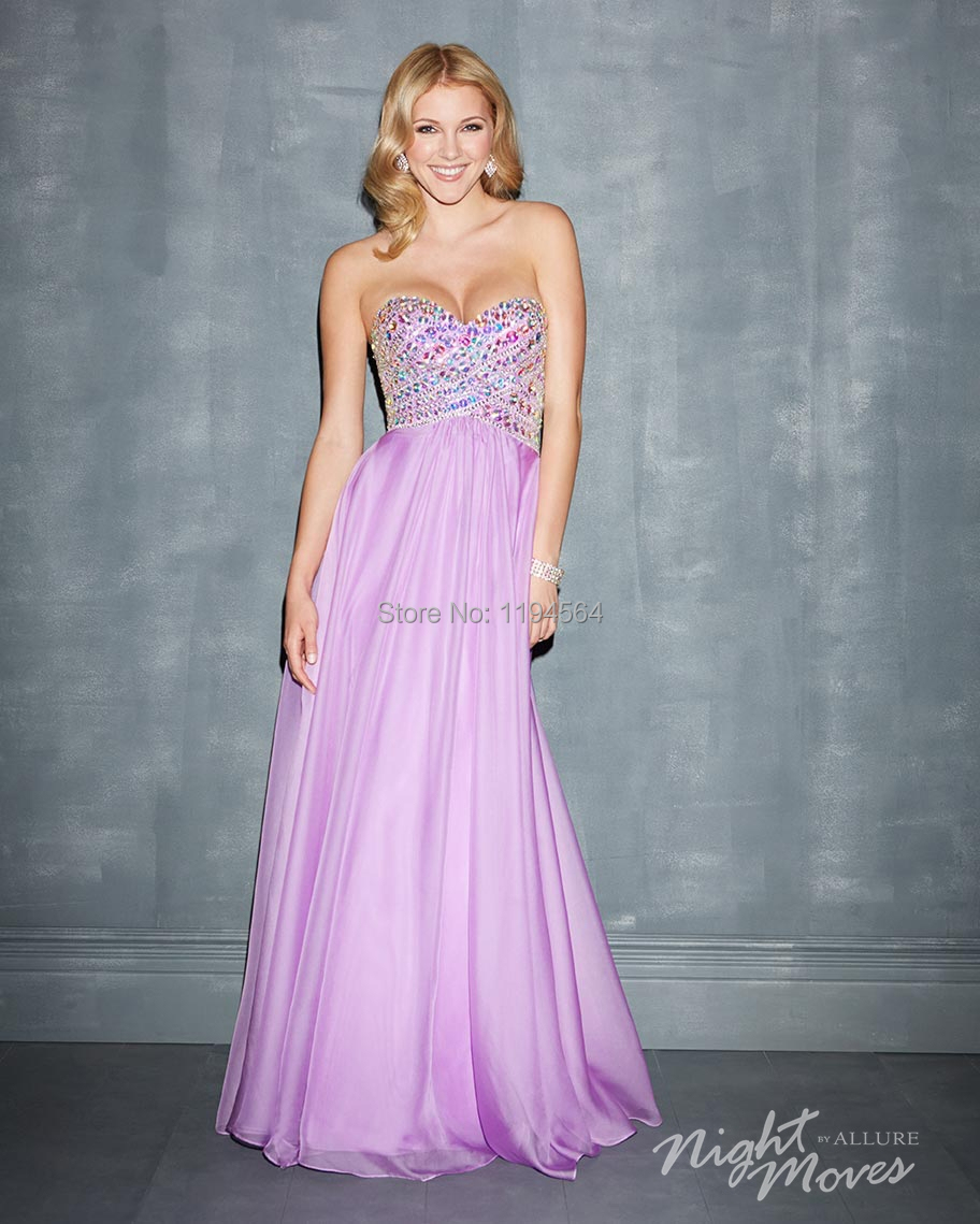 Free Shipping Colorful Beaded Prom Dresses 2014 Lilac Party Gowns ...