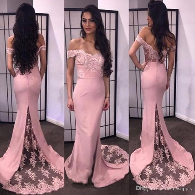 Elegant 2017 Pink Lace Mermaid Prom Dress Off Shoulder Slim Formal ...