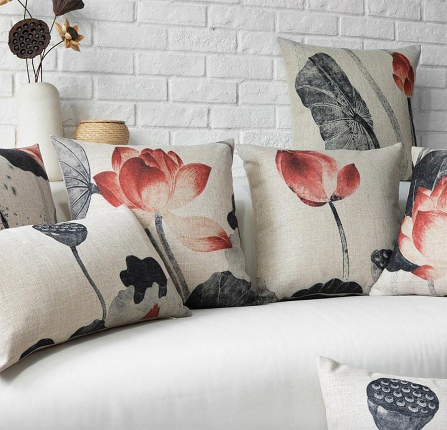 இEnvío Libre!! estilo Oriental lotus flower square throw pillow ...