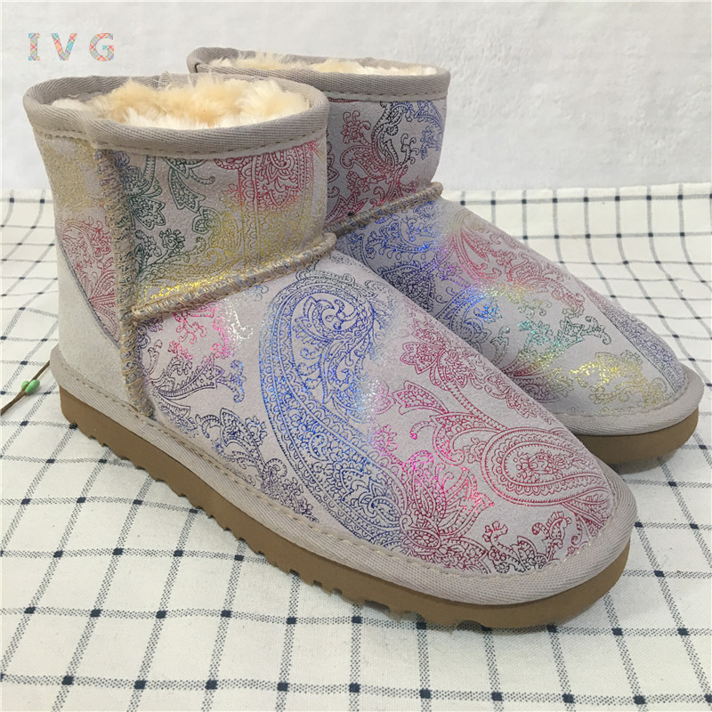 2017 Women's winter boots Australia Classic mini Camouflage pattern ugs Snow Boots Warm Leather Ankle Boots Brand IVG size 4-13 2017 women s winter boots australia classic mini camouflage pattern ugs snow boots warm leather ankle boots brand ivg size 4 13