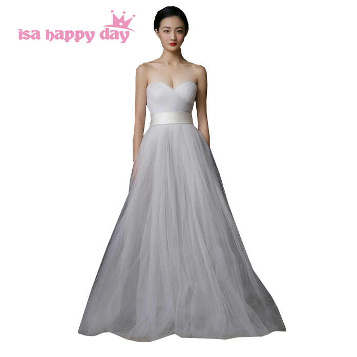 ladies strapless sweetheart floor length tulle grey long prom ...